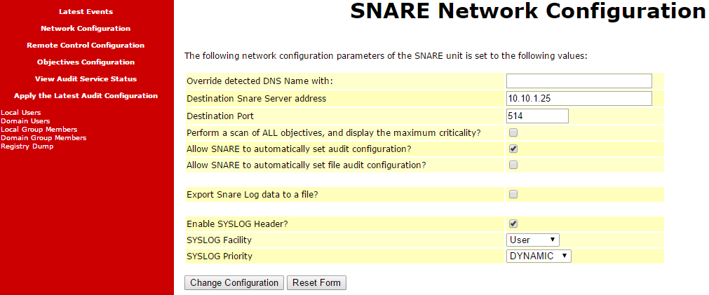 Snare Network Configuration